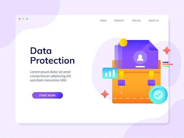 Page De Destination Du Site Web Sur La Protection Des Données Vecteur Premium
