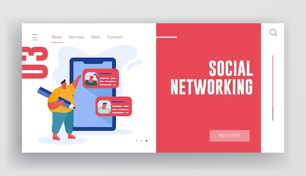 Page De Destination Du Site Web De Réseautage Social. Vecteur Premium