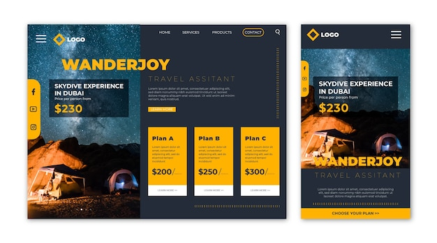 Page De Destination Du Site Web De Voyage Contenant Des Informations Vecteur gratuit