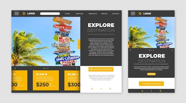 Page De Destination Du Site Web De Voyage Vecteur gratuit