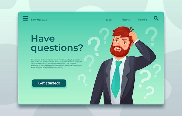 Page de destination du support en ligne. ayez une page web de questions, un homme posant une question et aidez à décider difficilement du modèle Vecteur Premium