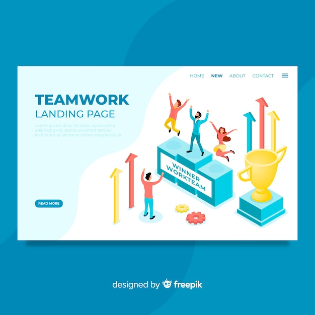 Page de destination du travail d'équipe Vecteur gratuit