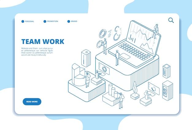 Page De Destination Du Travail D'équipe Vecteur Premium