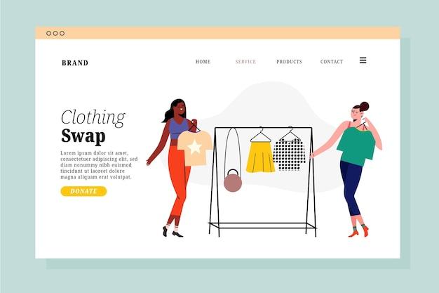 Page De Destination De L'échange De Vêtements Design Plat Vecteur gratuit