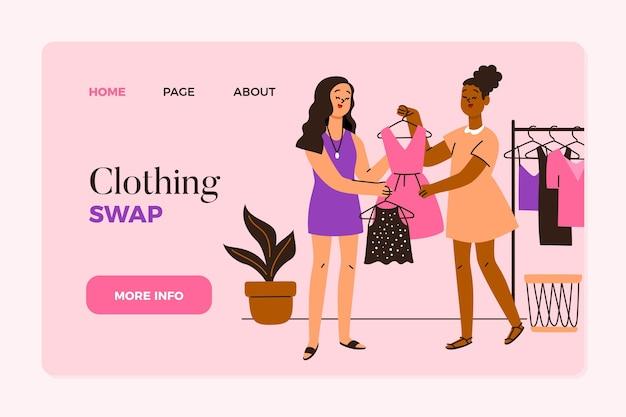 Page De Destination De L'échange De Vêtements Dessinés à La Main Vecteur gratuit