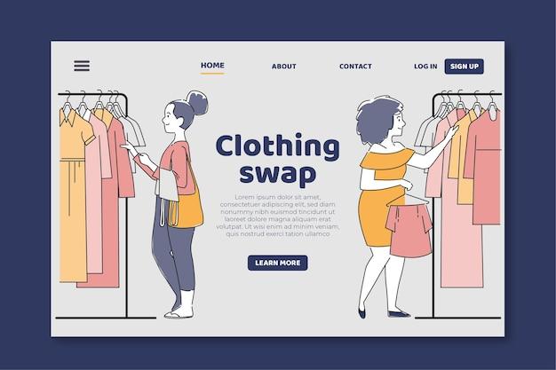 Page De Destination De L'échange De Vêtements Plats Vecteur gratuit