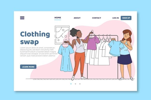Page De Destination De L'échange De Vêtements Vecteur gratuit