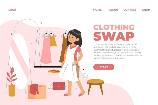 Page De Destination échangeant Des Vêtements Dessinés à La Main Vecteur gratuit