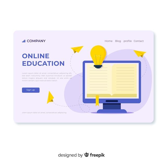Page de destination de l'éducation en ligne plate Vecteur gratuit