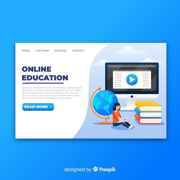 Page de destination de l'éducation en ligne Vecteur gratuit