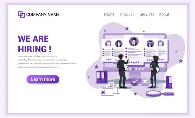Page de destination embauche et recrutement Vecteur Premium