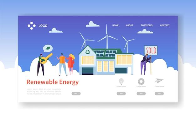 Page De Destination De L'énergie Solaire Et éolienne Renouvelable Verte. Vecteur Premium