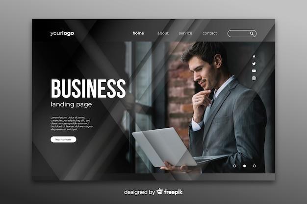 Page De Destination De L'entreprise Avec Image Vecteur gratuit