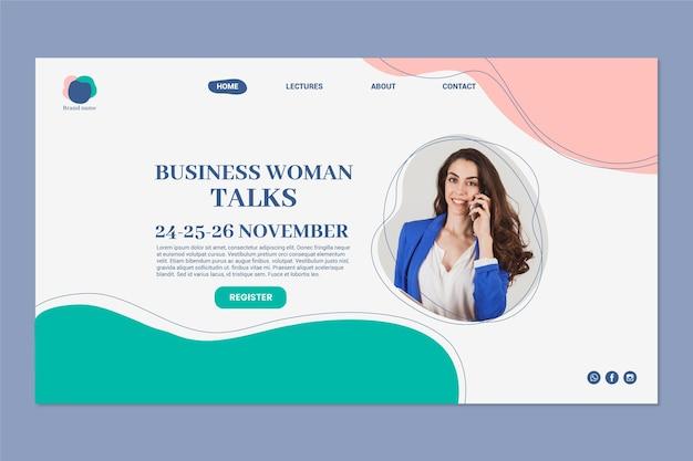 Page De Destination De Femme D & # 39; Affaires Vecteur Premium