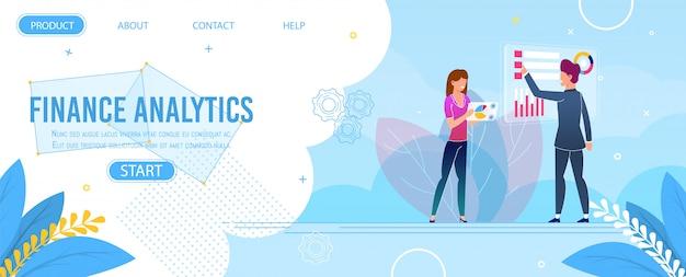 Page de destination finance analytics et data research Vecteur Premium