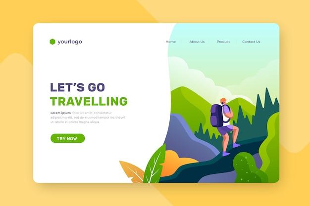 Page De Destination Avec Fond Illustré Vecteur gratuit