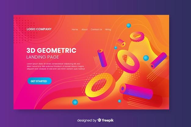 Page de destination des formes géométriques 3d Vecteur gratuit