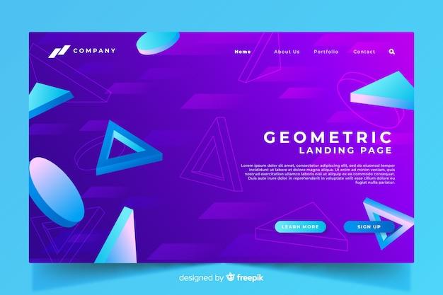 Page de destination géométrique 3d avec dégradé violet Vecteur gratuit