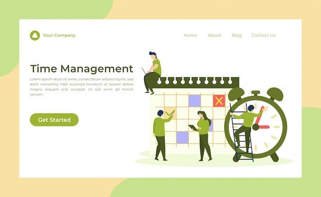 Page de destination de gestion du temps Vecteur Premium