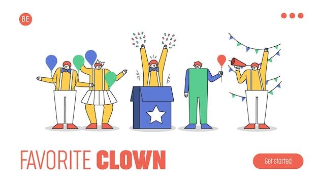 Page De Destination Avec Groupe De Personnages Clowns Drôles En Costumes Pour Spectacle De Cirque Ou Fête Avec Maquillage, Perruque Au Gingembre Et Nez Rouge Vecteur Premium