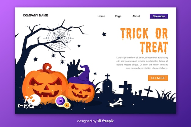 Page de destination halloween design plat Vecteur gratuit