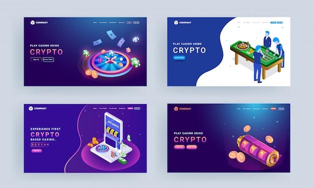 Page de destination avec illustration des personnages de jeu, roue de roulette, machine à sous et pièces de chiffrement pour play casino using crypto. Vecteur Premium