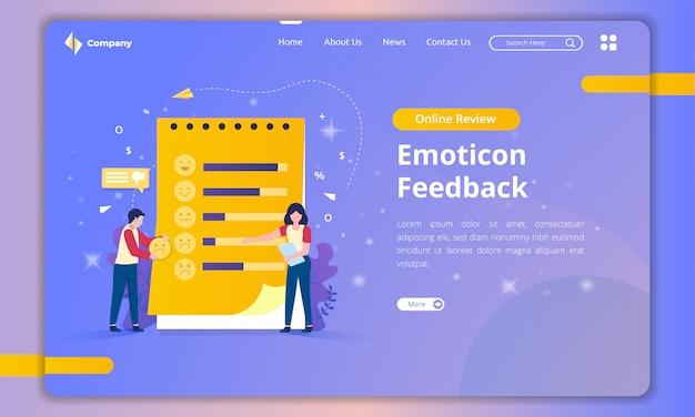 Page De Destination Avec Des Illustrations De Liste D Emoticones Pour Les Commentaires Des Clients Vecteur Premium