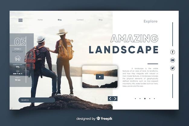 Page de destination avec image Vecteur gratuit