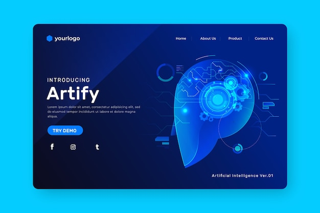 Page de destination de l'intelligence artificielle Vecteur gratuit