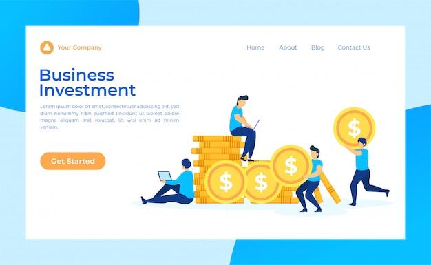 Page de destination des investissements commerciaux Vecteur Premium