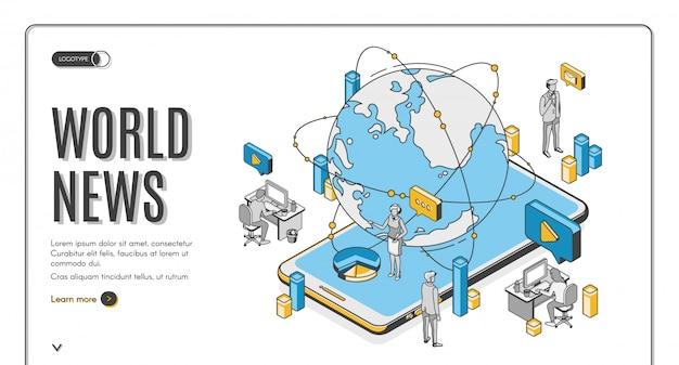 Page De Destination Isométrique De L'actualité Mondiale, Entreprise De Médias Vecteur gratuit