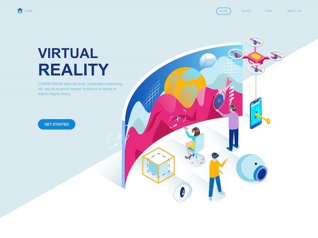 Page de destination isométrique au design plat moderne de la réalité virtuelle Vecteur Premium