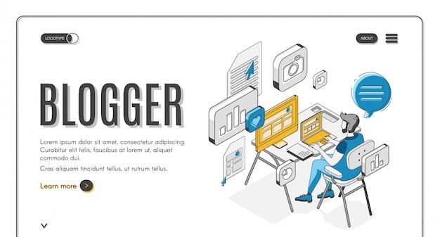 Page de destination isométrique de blogger, médias sociaux. Vecteur gratuit