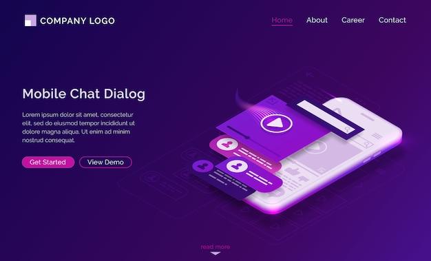 Page De Destination Isométrique De La Boîte De Dialogue De Chat Mobile Vecteur gratuit