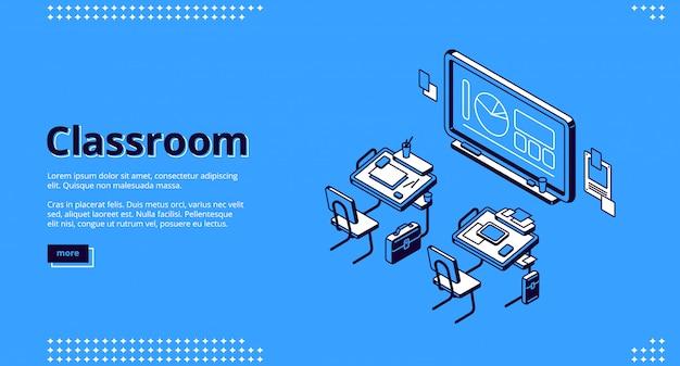 Page De Destination Isométrique En Classe, Classe D'école Vecteur gratuit