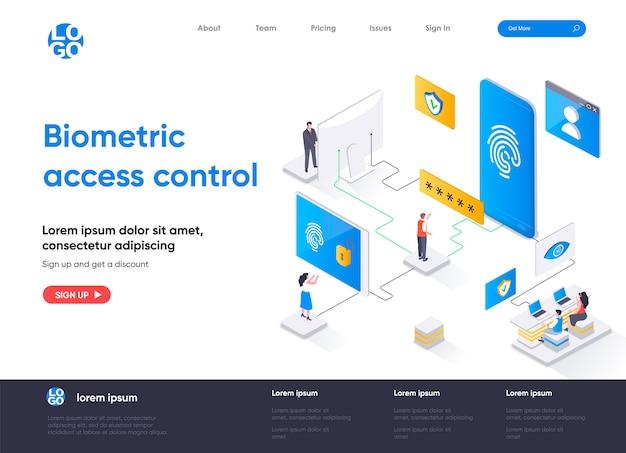 Page De Destination Isométrique De Contrôle D'accès Biométrique Vecteur Premium