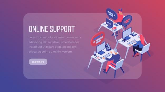Page de destination isométrique du centre de support en ligne. Vecteur Premium