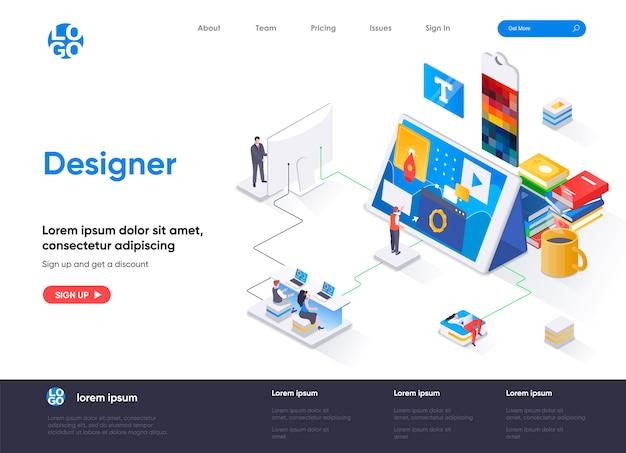 Page De Destination Isométrique Du Concepteur Vecteur Premium