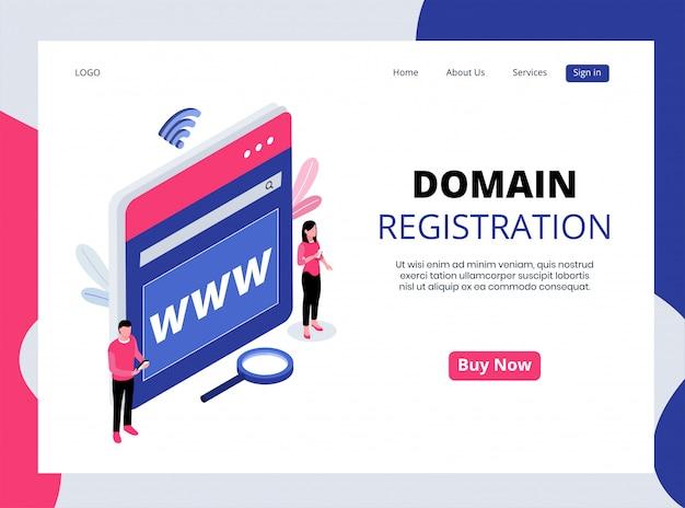 Page De Destination Isométrique D'enregistrement De Domaine Vecteur Premium
