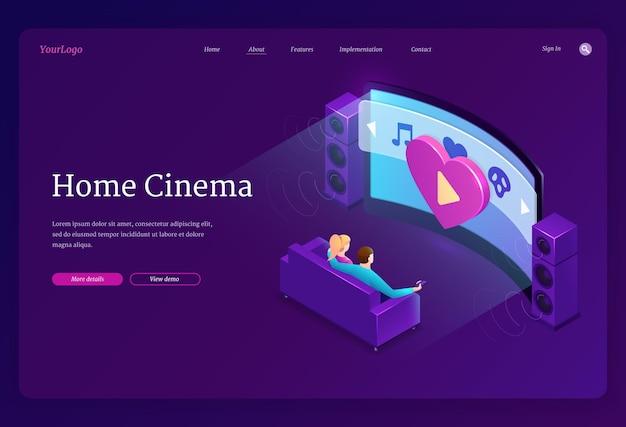 Page De Destination Isométrique Home Cinema Vecteur gratuit