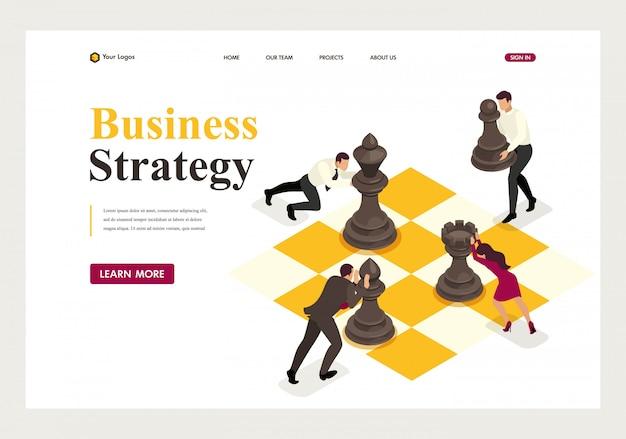 Page de destination isométrique de la planification stratégique d'entreprise concept, travail d'équipe. Vecteur Premium