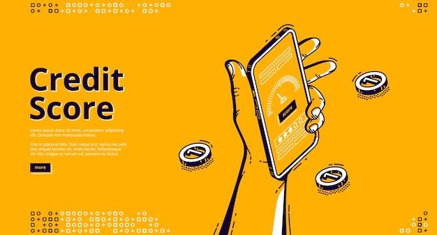 Page De Destination Isométrique De Pointage De Crédit Vecteur gratuit