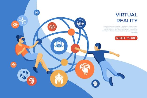 Page De Destination Isométrique De Réalité Virtuelle Vecteur Premium