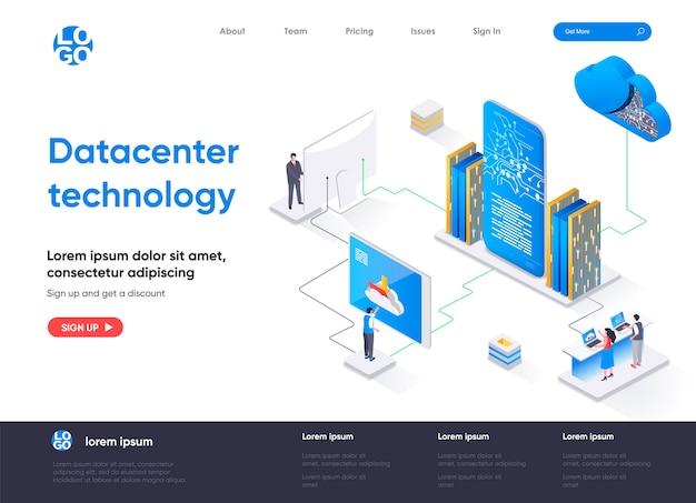 Page De Destination Isométrique De La Technologie Du Centre De Données Vecteur Premium