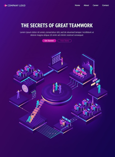 Page De Destination Isométrique De Travail D'équipe, Stratégie De Travail D'équipe Vecteur gratuit