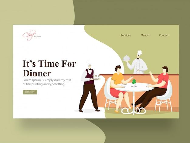La page de destination de it's time for dinner avec le chef servant, un homme et une femme assis à une table de restaurant. Vecteur Premium