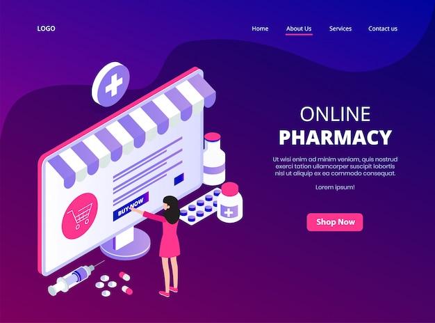 Page De Destination En Ligne De La Pharmacie En Ligne Vecteur Premium