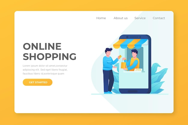 Page De Destination En Ligne Shopping Design Plat Avec Des Personnages Vecteur Premium