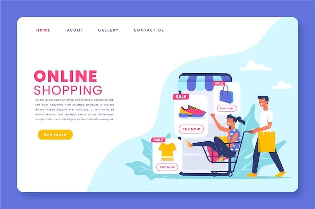 Page De Destination En Ligne Shopping Design Plat Vecteur Premium