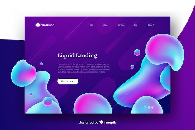 Page de destination de liquide abstrait coloré Vecteur gratuit